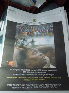 A stark reminder in the Daily Nation of the 2007/2008 post-election violence.