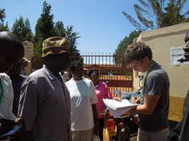 Interviewing Kenyan voters outside of a polling station