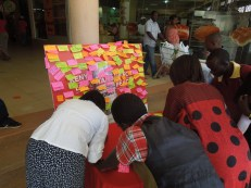 Writing messages of peace in a shopping mall in Eldoret in the northern Rift Valley in March 2013