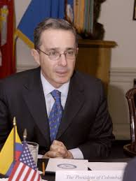 Álvoro Uribe is a decisive figure of these elections. The peace process with the FARC guerilla might be undermined when he will the elections. (c) Wikipedia