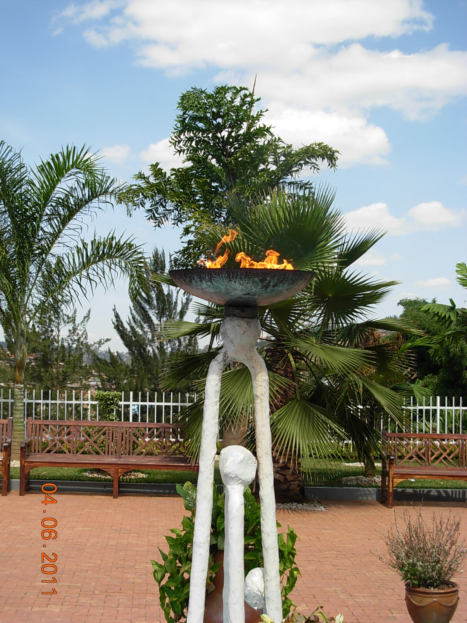 The symbolic flame remembering the victims of the Rwandan genocide