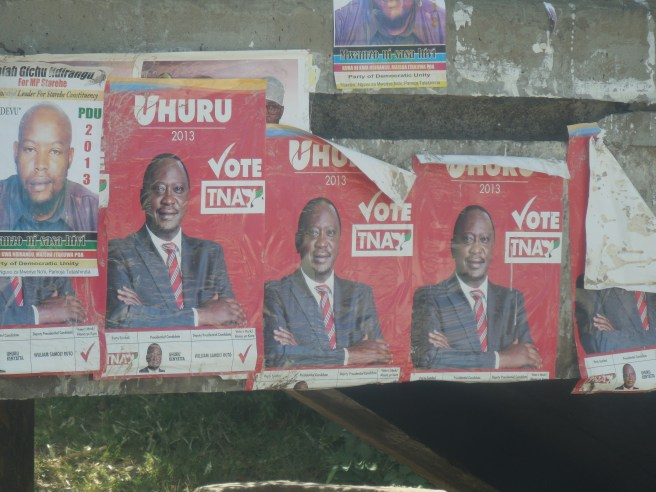 President Kenyatta's poster before the 4 March 2013 election in Nairobi