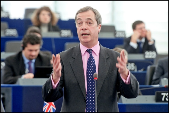 Nigel Farage in the European Parliament. He is infamous for his speeches. (c) Flickr
